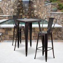 23.75'' Square Black-Antique Gold Metal Indoor-Outdoor Bar Table Set with 2 Stools with Backs