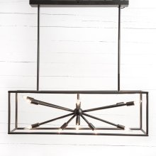 Dark Antique Brass Finish Jaxon Rectangular Chandelier