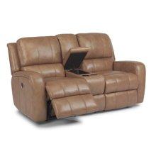 Hammond Leather Power Reclining Love Seat w/ Console