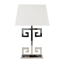 Nickel Plated Greek Key Lamp Base With Rectangular Off White Shade. Ul Approved for One 60w Bulb.