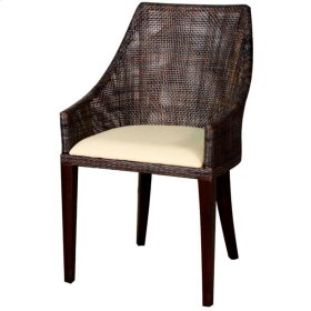 Adriana Rattan Side Chair, Sky Black
