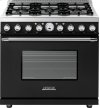 Range DECO 36'' Classic Black matte, Chrome 6 gas, electric oven, self-clean