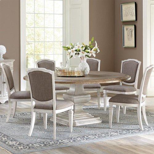 Elizabeth - Upholstered Side Chair - Smokey White Finish