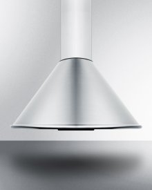"""24"""" Wide European 600 Cfm Range Hood In Stainless Steel With A Curved Canopy and Chimney Design"""