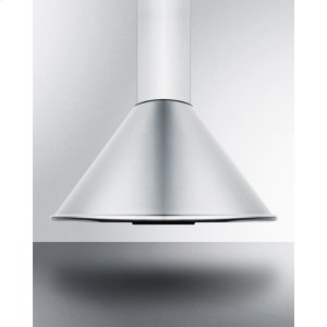 "Summit24"" Wide European 600 Cfm Range Hood In Stainless Steel With A Curved Canopy and Chimney Design"