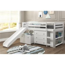 Pine Ridge White Low Loft Bed with Bookcase & Storage with options: Twin, With Chest, Bookcase, and Toy Box