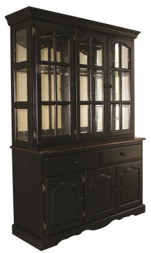 Sunset Trading Treasure Buffet and Lighted Hutch in Distressed Black and Cherry Finish