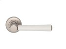 Tube Stitch Incombination Leather Door Lever In White (special Order) And Satin Nickel Product Image