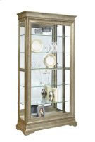 Stately 5 Shelf Sliding Door Curio Cabinet in Aged Silver Product Image
