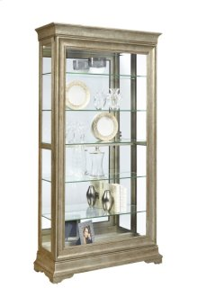 Stately 5 Shelf Sliding Door Curio Cabinet in Aged Silver
