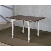 DLU-ADW3448-AW  Drop Leaf Dining Table  Antique White with Chestnut Top