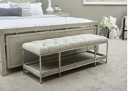 Sutton Place Tufted Storage Bed Bench in Grey Oak Product Image