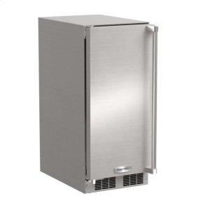 """MarvelMarvel 15"""" Outdoor Clear Ice Machine - Solid Stainless Steel Door - Left Hinge"""