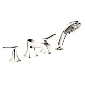 Polished Nickel 4-Hole Roman Tub Set Trim with 2.0 GPM Handshower