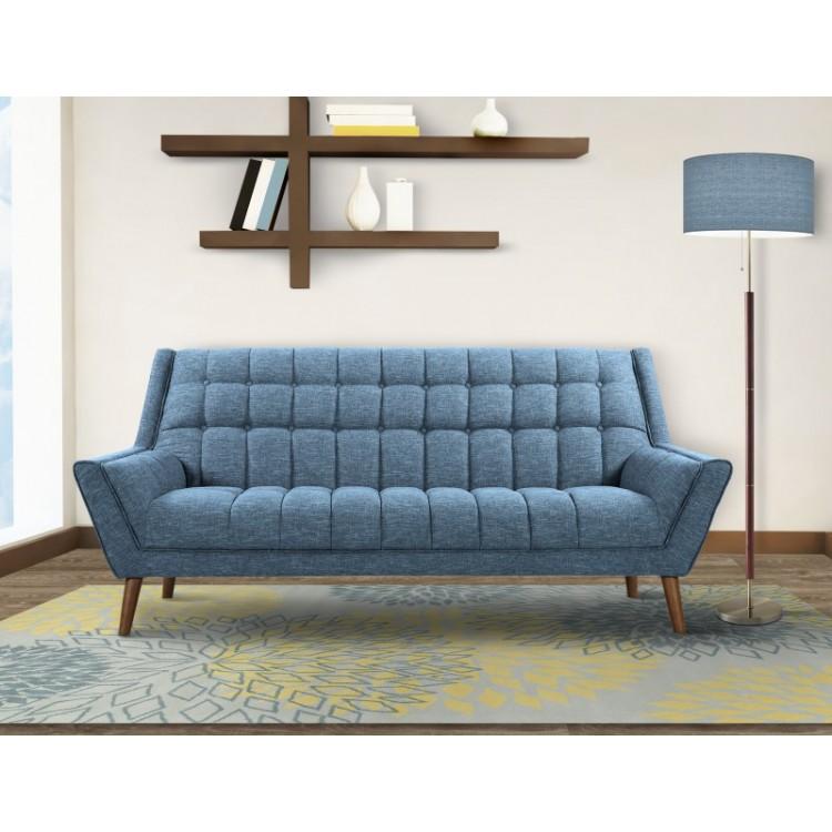 Armen Living Cobra Mid Century Modern Sofa In Blue Linen And Walnut Legs