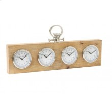 Clock 70x5x19 cm BRIXTON wood nickel