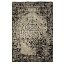 Black & Tan Antique Wash 4'x6' Jacquard Rug.