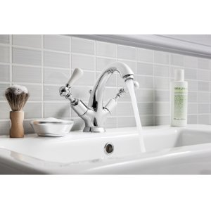 Belgravia Single-hole Basin Faucet with White Lever Handles - Polished Chrome