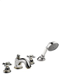 Brushed Bronze 4-hole rim mounted bath mixer with cross handles