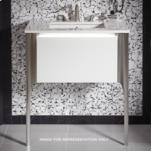 "Balletto 30-1/2"" X 15"" X 21-3/4"" Single Drawer Vanity In Mirror With Slow-close Plumbing Drawer and Legs In Brushed Nickel"