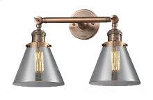 208-AC-G43 - LARGE GLASS CONE 2 LT WALL SCONCE