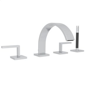 Polished Chrome Wave 4-Hole Deck Mount Tub Filler With Lever Handles And Handshower with Metal Lever