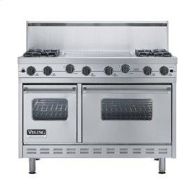 "Stainless Steel 48"" Sealed Burner Range - VGIC (48"" wide, four burners 24"" wide griddle/simmer plate)"