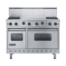 "Stainless Steel 48"" Sealed Burner Range - VGIC (48"" wide, four burners 24"" wide griddle/simmer plate)"