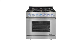 "Renaissance 36"" Self-Cleaning Gas Range with Pro Style Handle, Freestanding, in Stainless Steel, includes 3"" Backguard, Natural Gas"