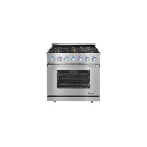 """DacorRenaissance 36"""" Self-Cleaning Gas Range with Pro Style Handle, Freestanding, in Stainless Steel, includes 3"""" Backguard, Natural Gas"""