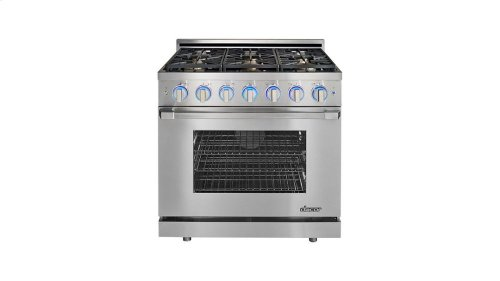 "Renaissance 36"" Self-Cleaning Gas Range with Pro Style Handle, Freestanding, in Stainless Steel, includes 3"" Backguard, Liquid Propane"