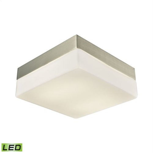 Wyngate 2-Light Square Flush Mount in Satin Nickel with Opal Glass - Integrated LED - Medium