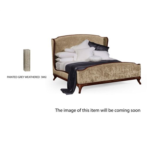 US King Louis XV Grey Weathered Bed, Upholstered in Calico Velvet