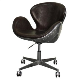 Duval PU Swivel Office Chair Aluminum Frame, Distressed Java