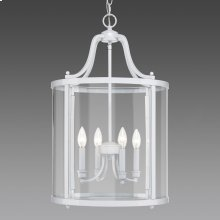 Payton 4 Light Pendant in White with Clear Glass