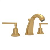 Italian Brass Lombardia C-Spout Widespread Lavatory Faucet with Metal Lever