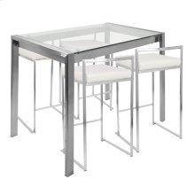 Fuji 5-piece Counter Set - Brushed Stainless Steel, White Pu