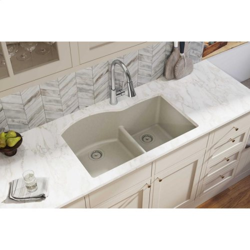 "Elkay Quartz Classic 33"" x 22"" x 10"", Offset 60/40 Double Bowl Undermount Sink with Aqua Divide, Putty"