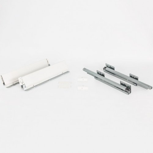 86 mm Height x 450 mm Length Heavy Duty White Soft-close Metal Drawer Box System with 10 mm Dowels