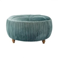 Helena KD Round Ottoman Natural Wood Legs, Emerald