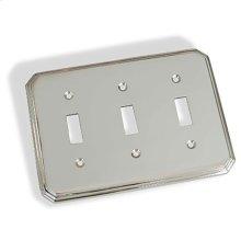 Triple Toggle Square Deco Switch Plate - Polished Chrome