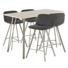 Sedona 5-piece Counter Set - Brushed Antique Metal, Light Brown Wood, Black Fabric