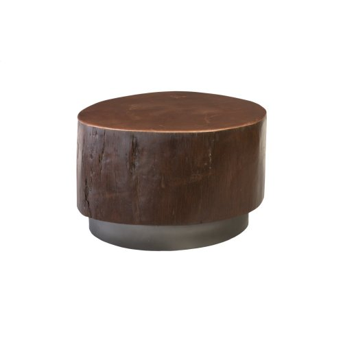 Black Wood Coffee Table, Copper Top