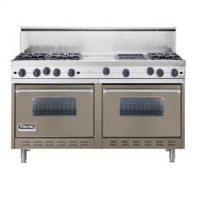 """Stone Gray 60"""" Open Burner Commercial Depth Range - VGRC (60"""" wide, six burners 12"""" wide griddle/simmer plate 12"""" wide char-grill)"""