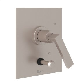 Satin Nickel Wave Pressure Balance Trim With Diverter with Metal Lever