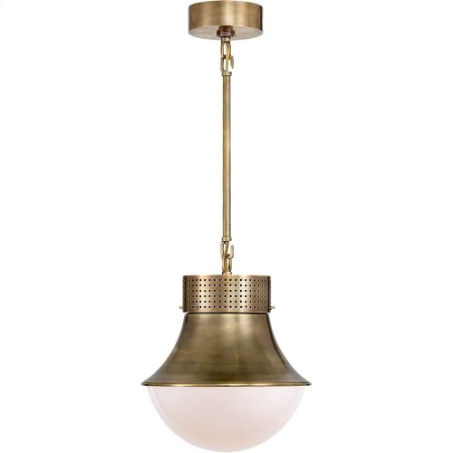 Visual Comfort KW5221AB-WG Kelly Wearstler Precision 10 inch Antique Burnished Brass Pendant Ceiling Light, Kelly Wearstler, Small, White Glass