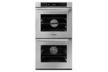 "27"" Heritage Double Wall Oven, Silver Stainless Steel, Epicure Style stainless steel handle with chrome end caps"
