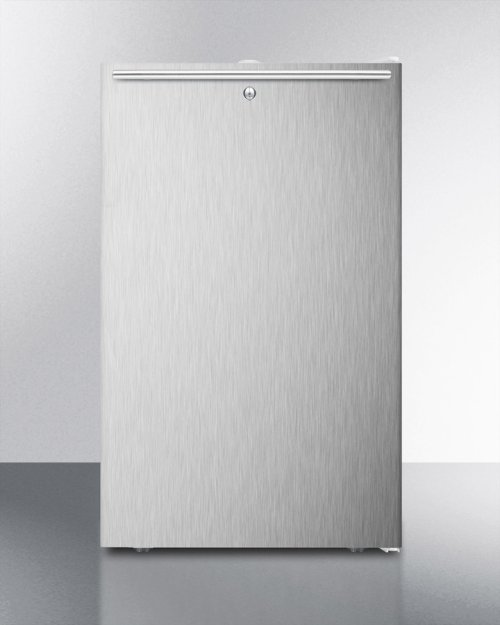"""Commercially Listed 20"""" Wide Built-in Refrigerator-freezer With A Lock, Stainless Steel Door, Horizontal Handle and White Cabinet"""