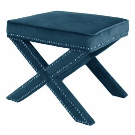Marguerite Nailhead Stool, Mozart Blue