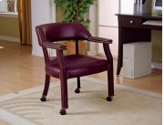 GUEST CHAIR,BURGUNDY VINYL, WOOD IN MAHOGANY Product Image